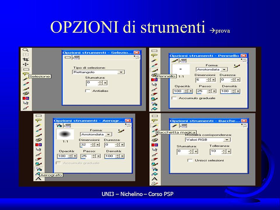 UNI3 – Nichelino – Corso PSP OPZIONI di strumenti prova