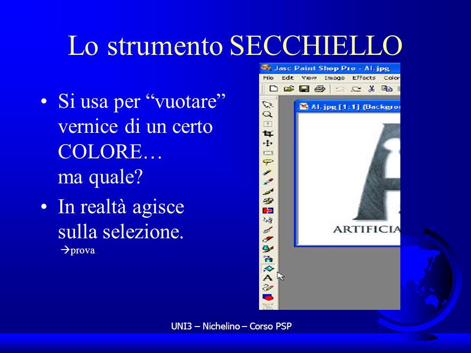 UNI3 – Nichelino – Corso PSP Lo strumento SECCHIELLO Si usa per vuotare vernice di un certo COLORE… ma quale? In realtà agisce sulla selezione. prova