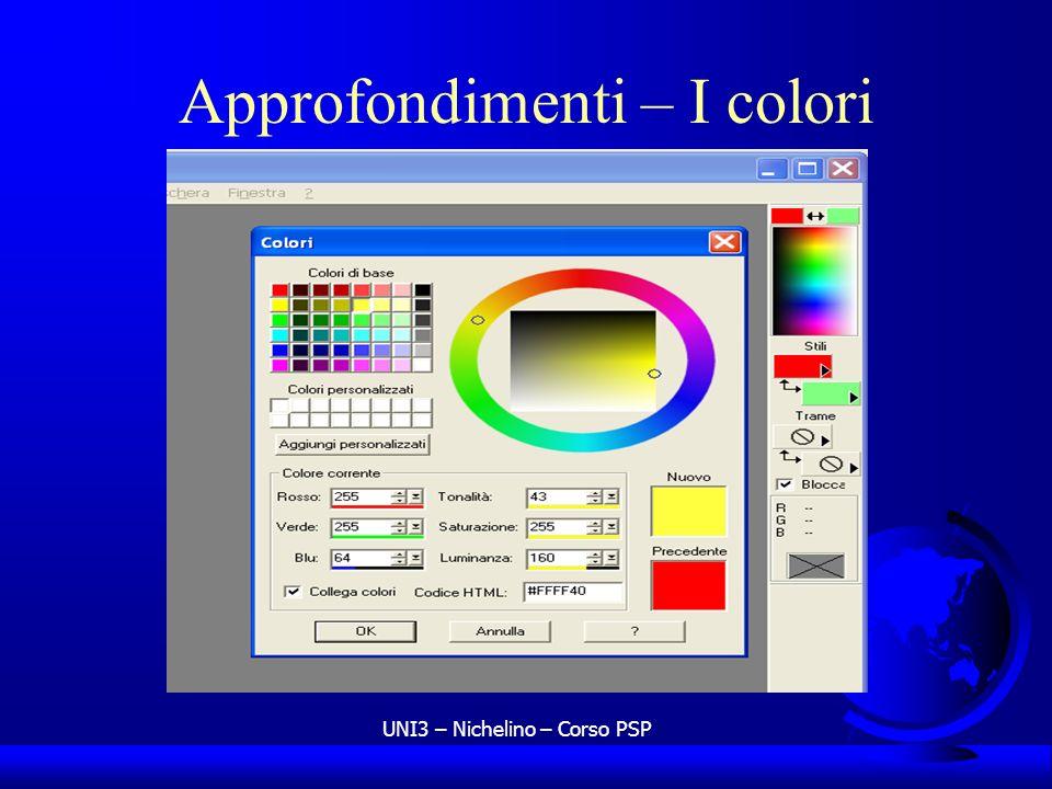 UNI3 – Nichelino – Corso PSP Approfondimenti – I colori