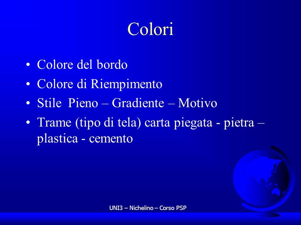 UNI3 – Nichelino – Corso PSP Colori Colore del bordo Colore di Riempimento Stile Pieno – Gradiente – Motivo Trame (tipo di tela) carta piegata - pietr