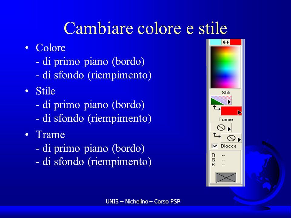 UNI3 – Nichelino – Corso PSP Cambiare colore e stile Colore - di primo piano (bordo) - di sfondo (riempimento) Stile - di primo piano (bordo) - di sfo