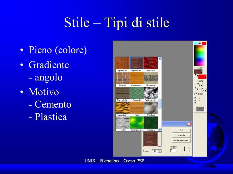 UNI3 – Nichelino – Corso PSP Stile – Tipi di stile Pieno (colore) Gradiente - angolo Motivo - Cemento - Plastica