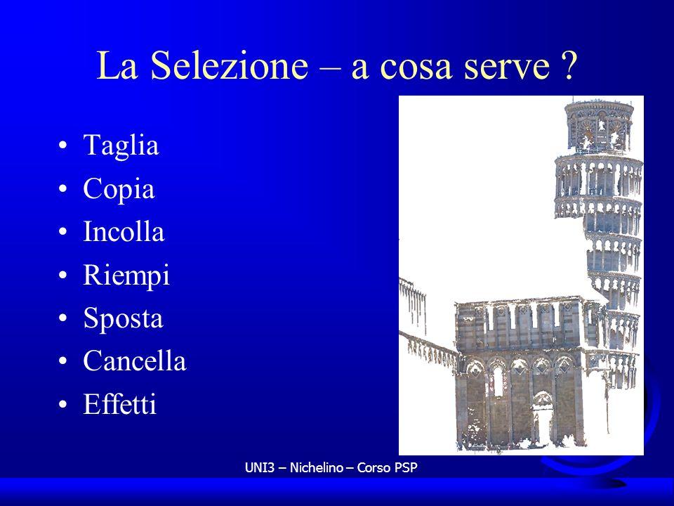 UNI3 – Nichelino – Corso PSP La Selezione – a cosa serve ? Taglia Copia Incolla Riempi Sposta Cancella Effetti