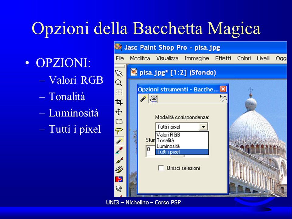 UNI3 – Nichelino – Corso PSP Opzioni della Bacchetta Magica OPZIONI: –Valori RGB –Tonalità –Luminosità –Tutti i pixel