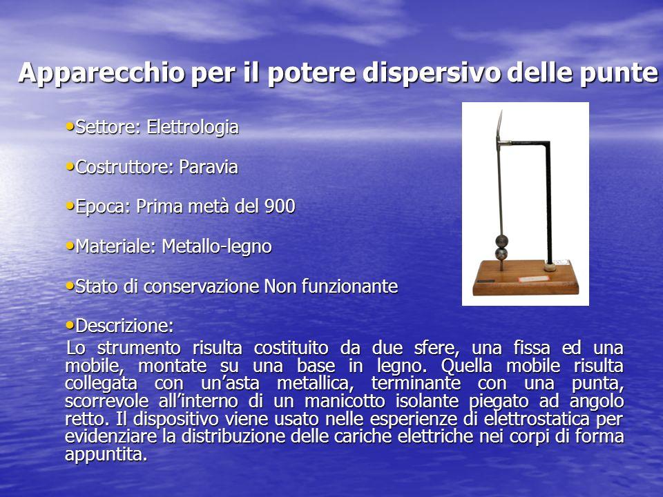 Apparecchio per il potere dispersivo delle punte Settore: Elettrologia Settore: Elettrologia Costruttore: Paravia Costruttore: Paravia Epoca: Prima me
