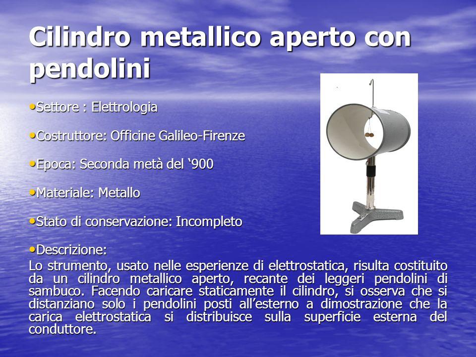 Cilindro metallico aperto con pendolini Settore : Elettrologia Settore : Elettrologia Costruttore: Officine Galileo-Firenze Costruttore: Officine Gali