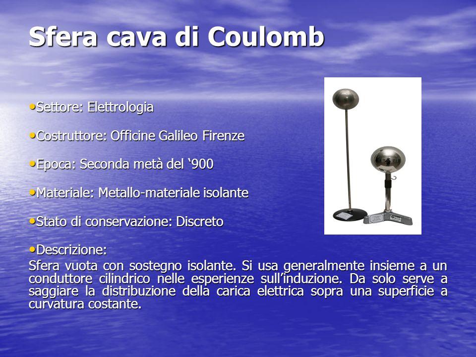 Sfera cava di Coulomb Settore: Elettrologia Settore: Elettrologia Costruttore: Officine Galileo Firenze Costruttore: Officine Galileo Firenze Epoca: S