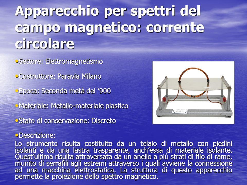 Apparecchio per spettri del campo magnetico: corrente circolare Settore: Elettromagnetismo Settore: Elettromagnetismo Costruttore: Paravia Milano Cost