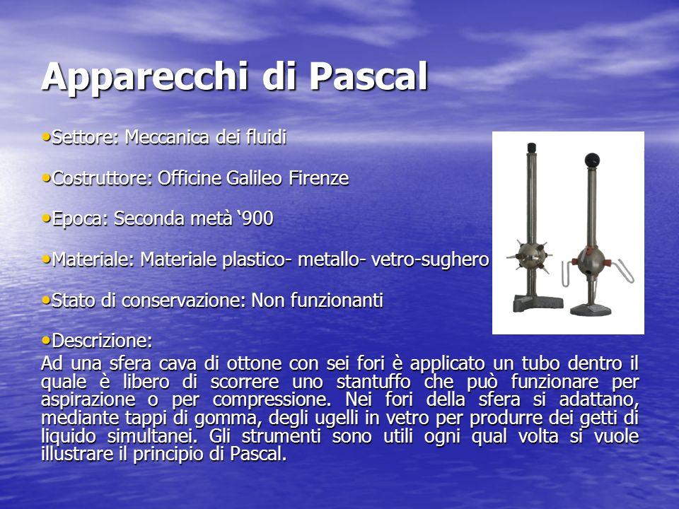 Apparecchi di Pascal Settore: Meccanica dei fluidi Settore: Meccanica dei fluidi Costruttore: Officine Galileo Firenze Costruttore: Officine Galileo F