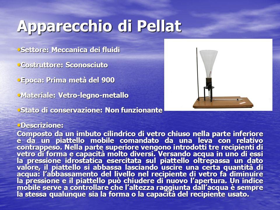 Apparecchio di Pellat Settore: Meccanica dei fluidi Settore: Meccanica dei fluidi Costruttore: Sconosciuto Costruttore: Sconosciuto Epoca: Prima metà