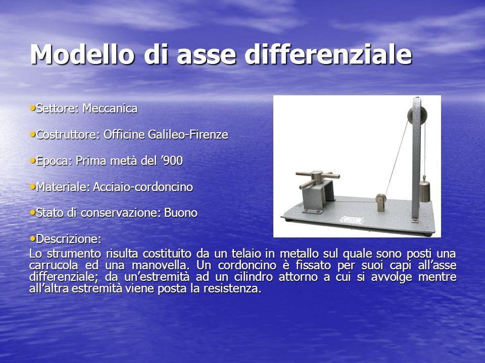 Modello di asse differenziale Settore: Meccanica Settore: Meccanica Costruttore: Officine Galileo-Firenze Costruttore: Officine Galileo-Firenze Epoca: