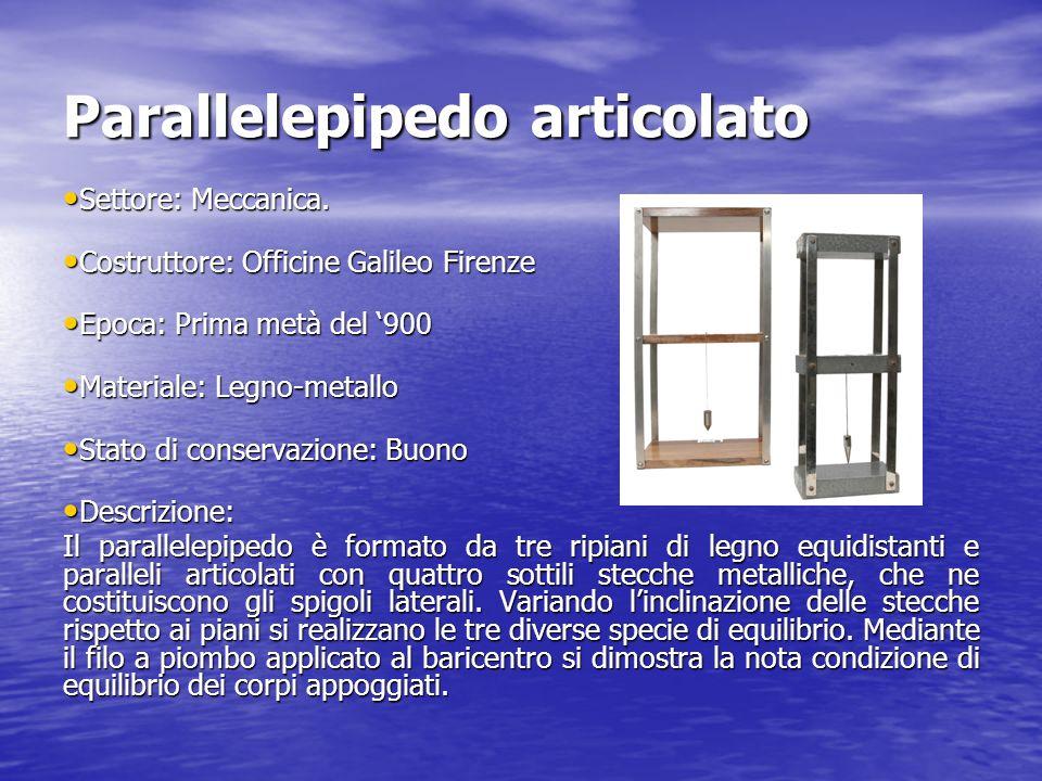 Parallelepipedo articolato Settore: Meccanica. Settore: Meccanica. Costruttore: Officine Galileo Firenze Costruttore: Officine Galileo Firenze Epoca: