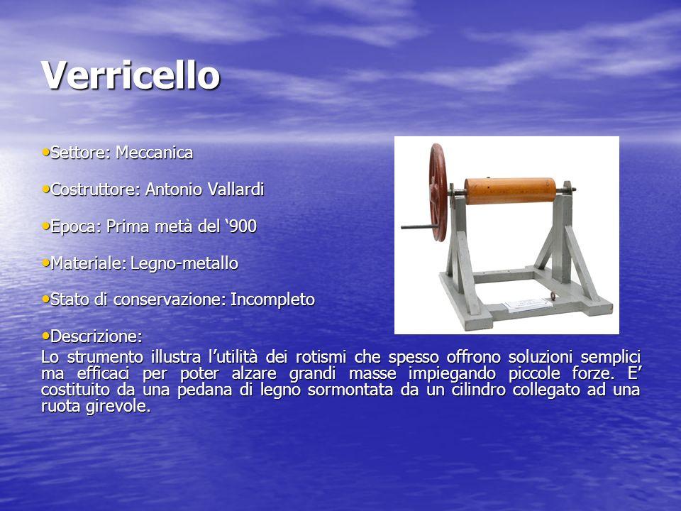 Verricello Settore: Meccanica Settore: Meccanica Costruttore: Antonio Vallardi Costruttore: Antonio Vallardi Epoca: Prima metà del 900 Epoca: Prima me