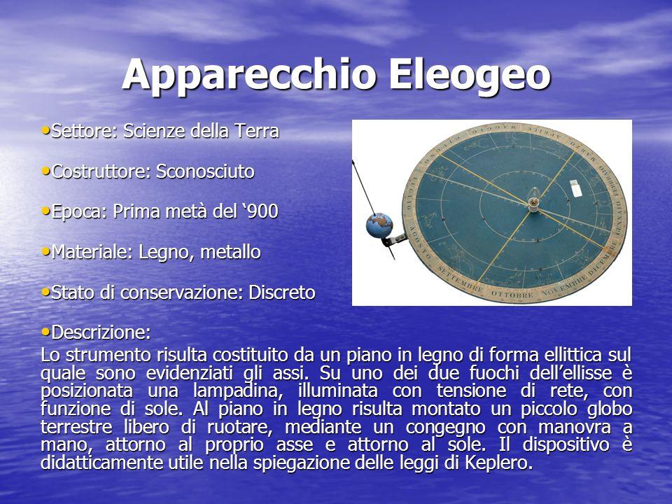 Apparecchio Eleogeo Settore: Scienze della Terra Settore: Scienze della Terra Costruttore: Sconosciuto Costruttore: Sconosciuto Epoca: Prima metà del