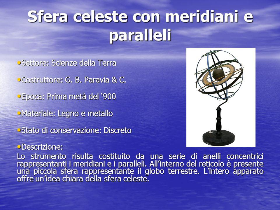 Sfera celeste con meridiani e paralleli Settore: Scienze della Terra Settore: Scienze della Terra Costruttore: G. B. Paravia & C. Costruttore: G. B. P