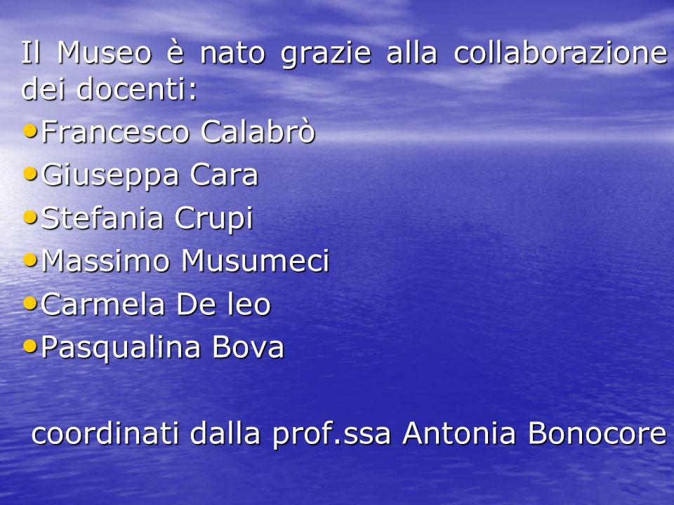 Il Museo è nato grazie alla collaborazione dei docenti: Francesco Calabrò Francesco Calabrò Giuseppa Cara Giuseppa Cara Stefania Crupi Stefania Crupi