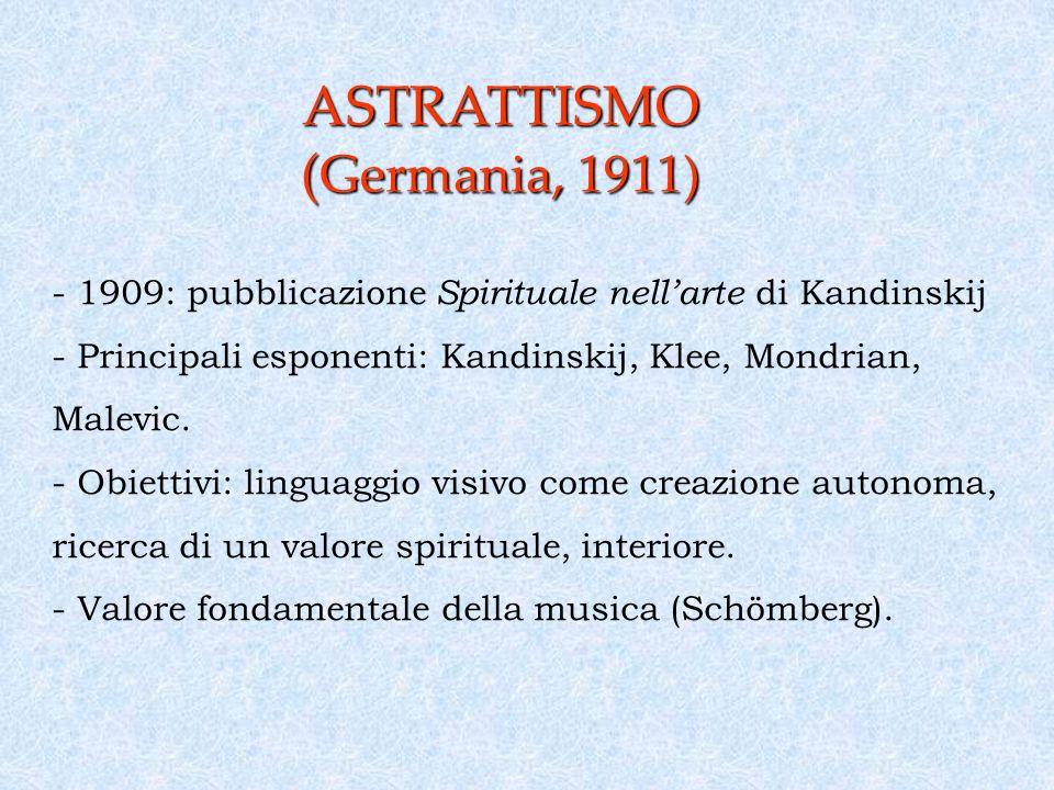 ASTRATTISMO ( Germania, 1911) - 1909: pubblicazione Spirituale nellarte di Kandinskij - Principali esponenti: Kandinskij, Klee, Mondrian, Malevic.
