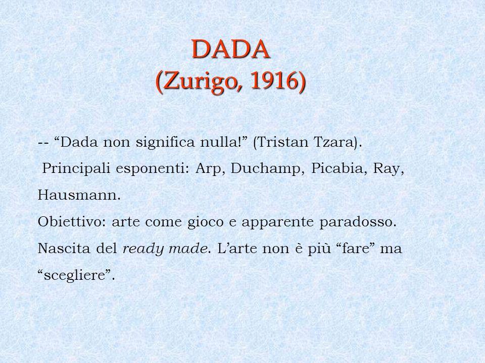 DADA ( Zurigo, 1916) -- Dada non significa nulla.(Tristan Tzara).