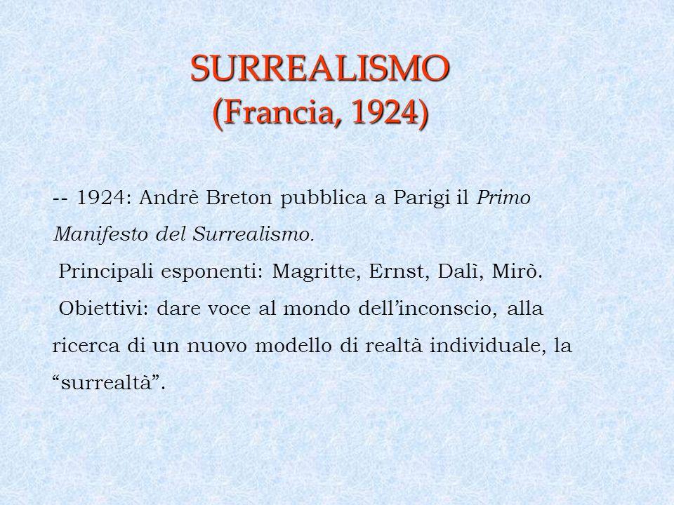 SURREALISMO ( Francia, 1924) -- 1924: Andrè Breton pubblica a Parigi il Primo Manifesto del Surrealismo.