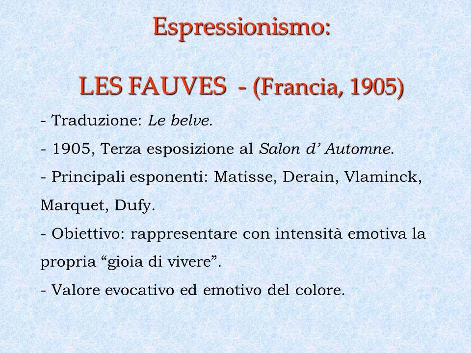 Espressionismo: LES FAUVES - ( Francia, 1905) - Traduzione: Le belve.