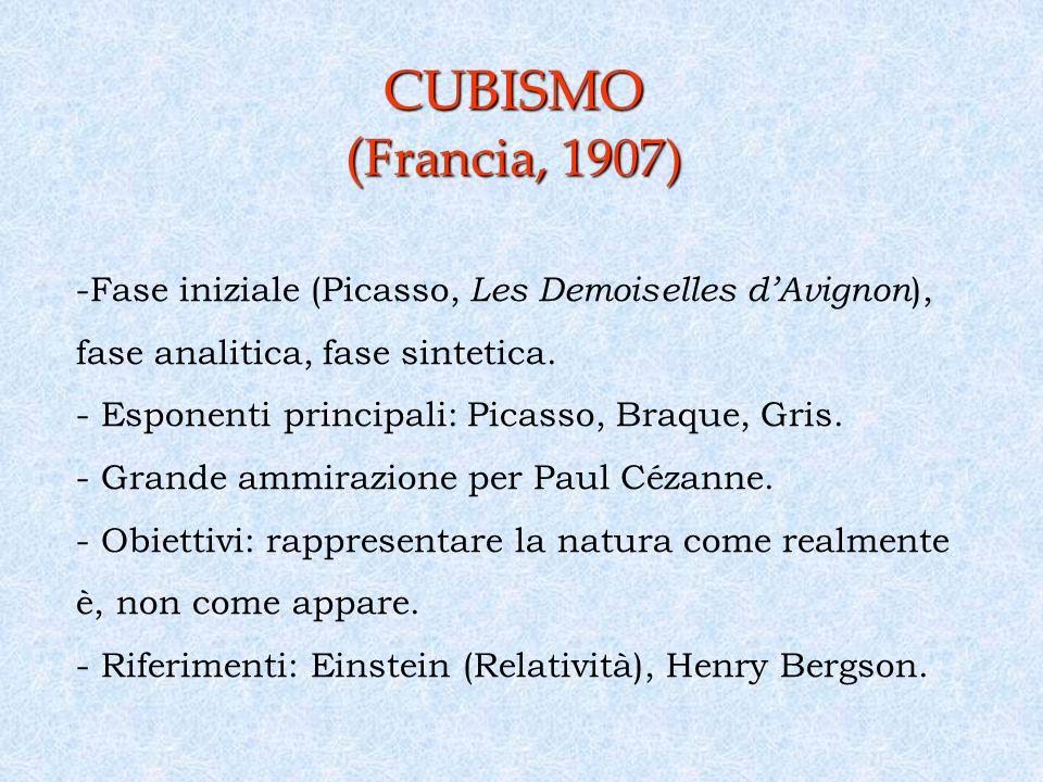 CUBISMO ( Francia, 1907) -Fase iniziale (Picasso, Les Demoiselles dAvignon ), fase analitica, fase sintetica.
