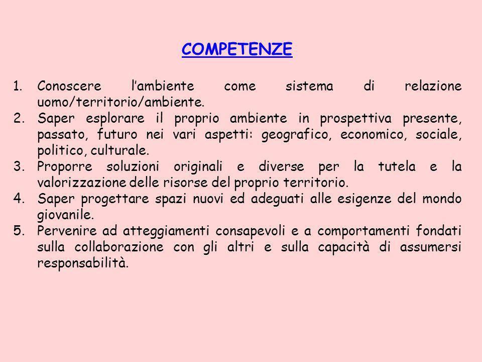 COMPETENZE 1.Conoscere lambiente come sistema di relazione uomo/territorio/ambiente.
