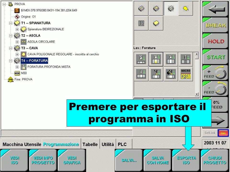 Premere per esportare il programma in ISO