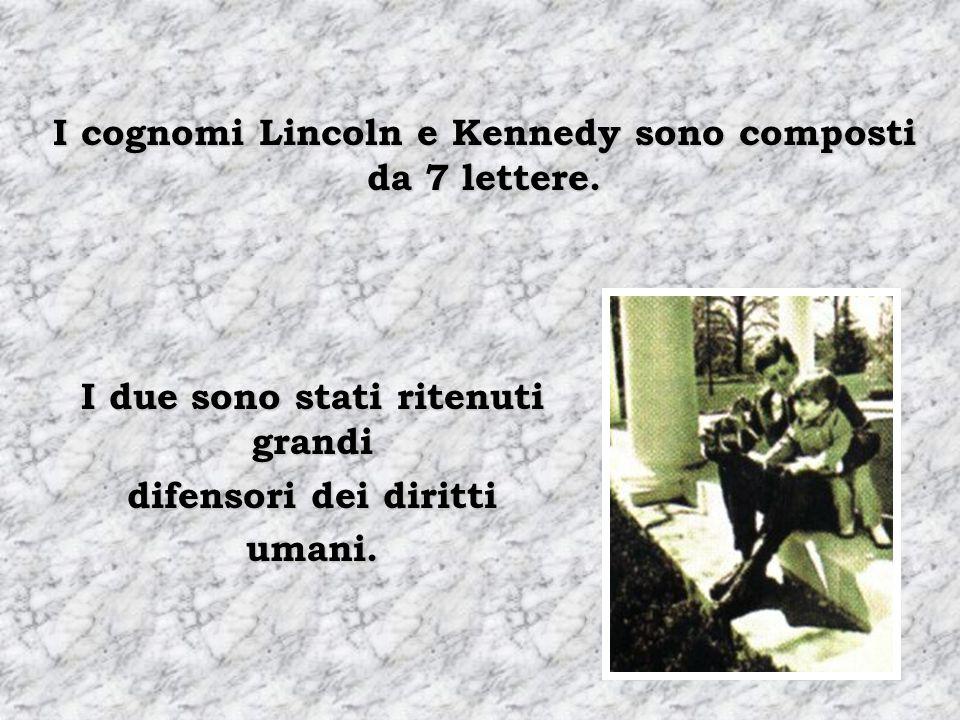 Abraham Lincoln si elegge per il Congresso nel 1846. Abraham Lincoln viene eletto presidente nel 1860. John F. Kennedy si elegge per il Congresso nel