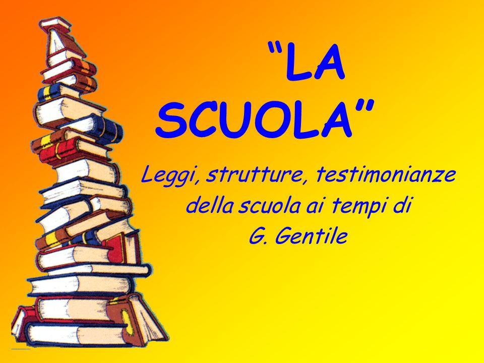 LA SCUOLA Leggi, strutture, testimonianze della scuola ai tempi di G. Gentile