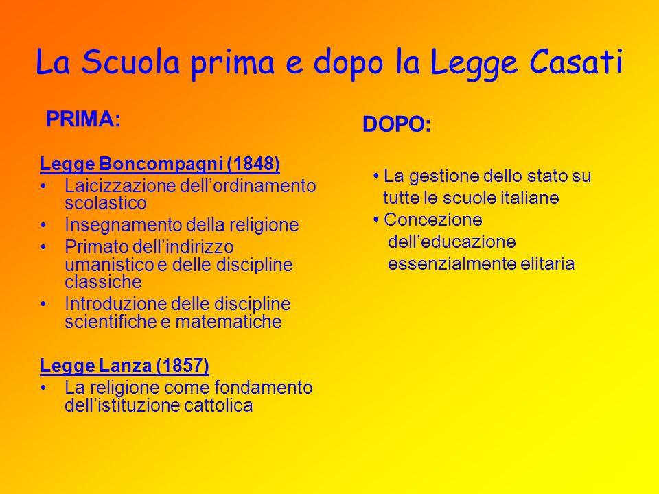 La Scuola prima e dopo la Legge Casati Legge Boncompagni (1848) Laicizzazione dellordinamento scolastico Insegnamento della religione Primato dellindi