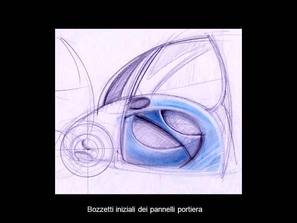 Sketch iniziali dei pannelli portiera su forma libera