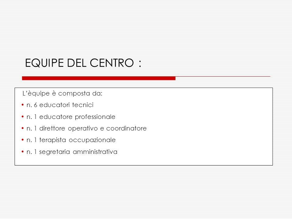 EQUIPE DEL CENTRO : Lèquipe è composta da: n.6 educatori tecnici n.