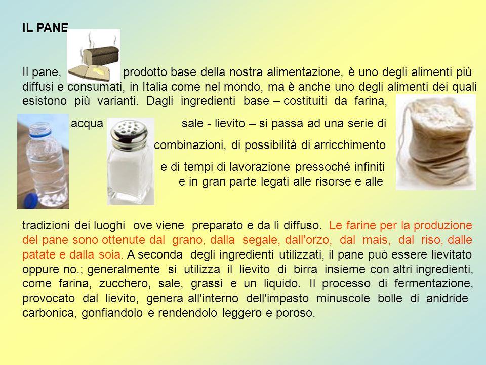 IL PANE Il pane, prodotto base della nostra alimentazione, è uno degli alimenti più diffusi e consumati, in Italia come nel mondo, ma è anche uno degl