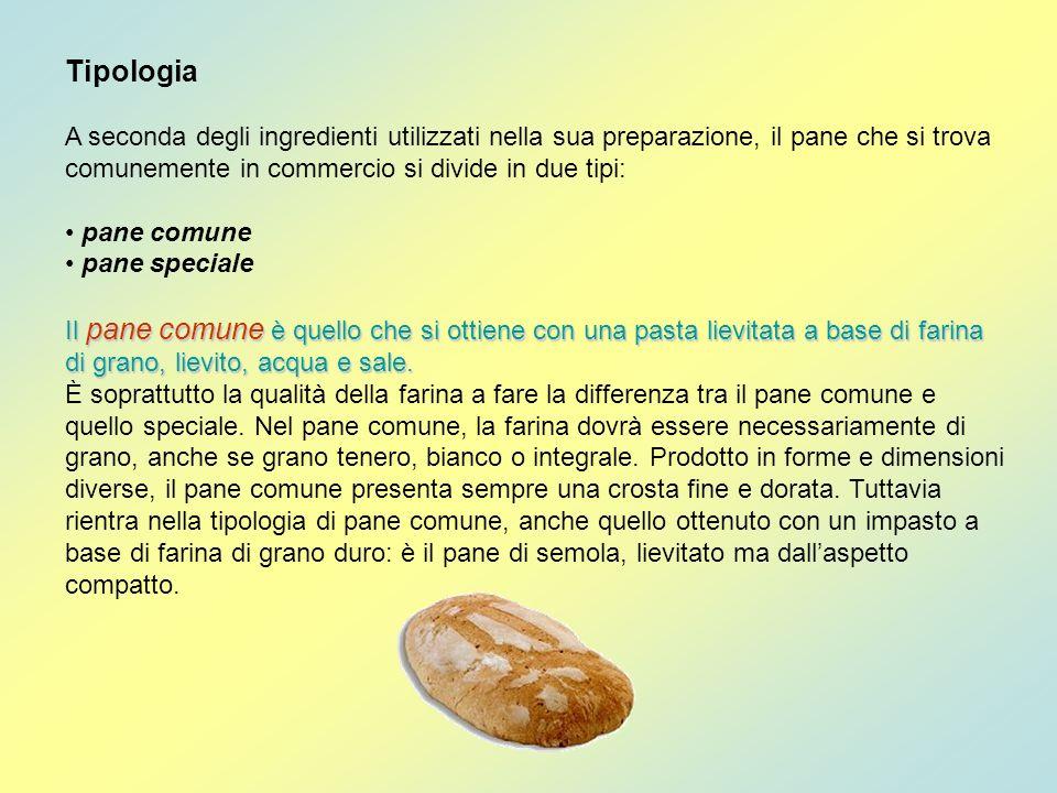 Tipologia A seconda degli ingredienti utilizzati nella sua preparazione, il pane che si trova comunemente in commercio si divide in due tipi: pane com