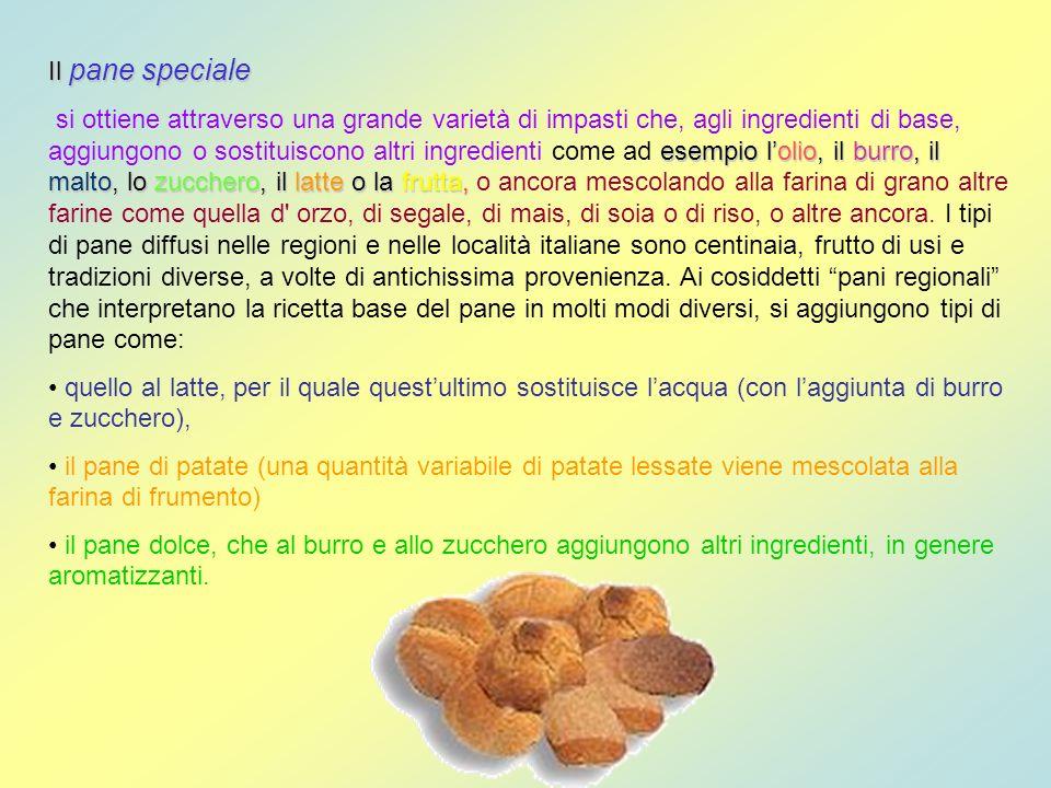 Il pane speciale esempio lolio, il burro, il malto, lo zucchero, il latte o la frutta, si ottiene attraverso una grande varietà di impasti che, agli i