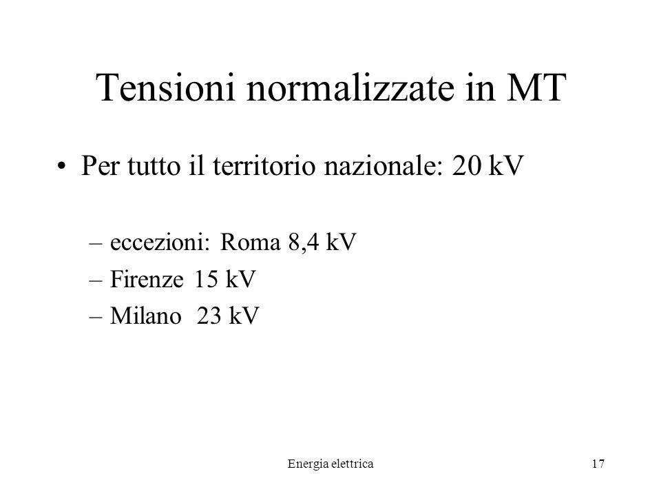 Energia elettrica17 Tensioni normalizzate in MT Per tutto il territorio nazionale: 20 kV –eccezioni: Roma 8,4 kV –Firenze 15 kV –Milano 23 kV