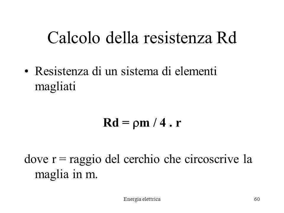 Energia elettrica60 Calcolo della resistenza Rd Resistenza di un sistema di elementi magliati Rd = m / 4.