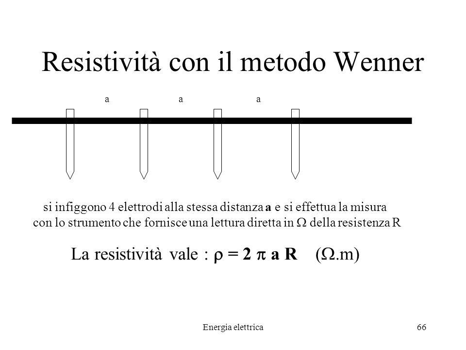 Energia elettrica66 Resistività con il metodo Wenner aaa si infiggono 4 elettrodi alla stessa distanza a e si effettua la misura con lo strumento che fornisce una lettura diretta in della resistenza R La resistività vale : = 2 a R (.m)