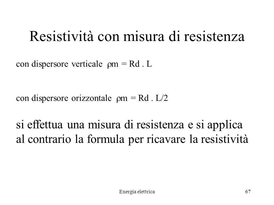 Energia elettrica67 Resistività con misura di resistenza con dispersore verticale m = Rd.