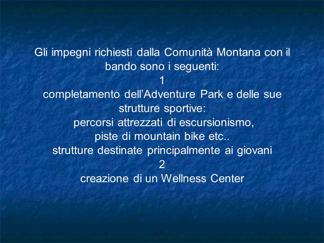 Gli impegni richiesti dalla Comunità Montana con il bando sono i seguenti: 1 completamento dellAdventure Park e delle sue strutture sportive: percorsi