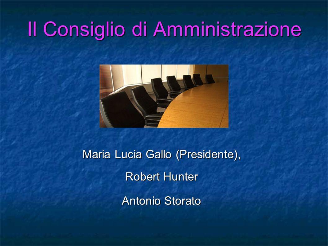 Il Consiglio di Amministrazione Maria Lucia Gallo (Presidente), Robert Hunter Antonio Storato
