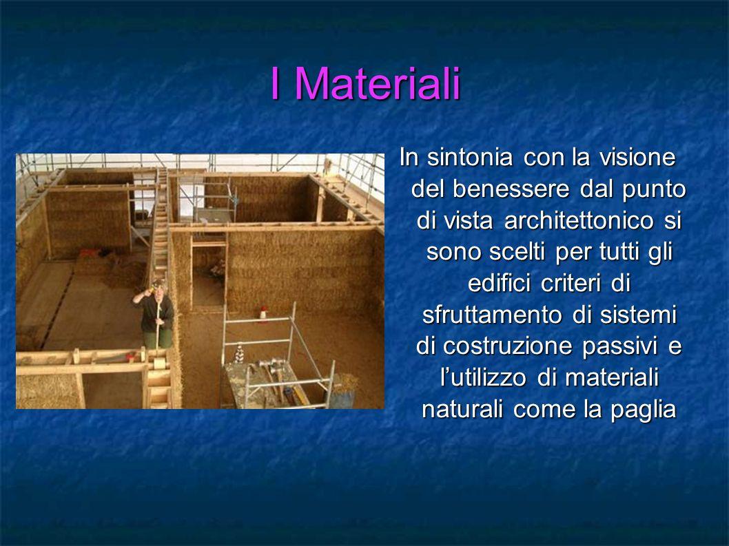 I Materiali In sintonia con la visione del benessere dal punto di vista architettonico si sono scelti per tutti gli edifici criteri di sfruttamento di