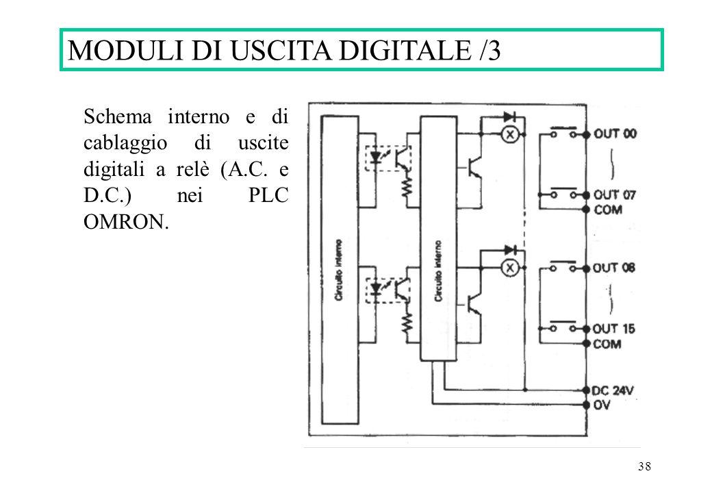 38 MODULI DI USCITA DIGITALE /3 Schema interno e di cablaggio di uscite digitali a relè (A.C.