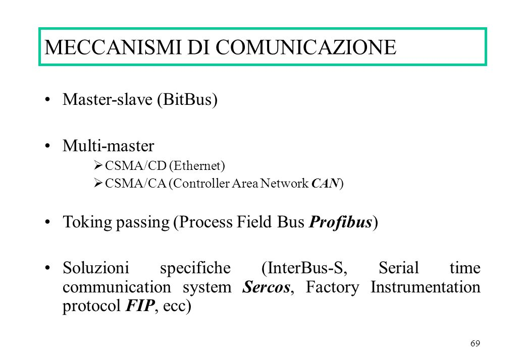 69 Master-slave (BitBus) Multi-master CSMA/CD (Ethernet) CSMA/CA (Controller Area Network CAN) Toking passing (Process Field Bus Profibus) Soluzioni s