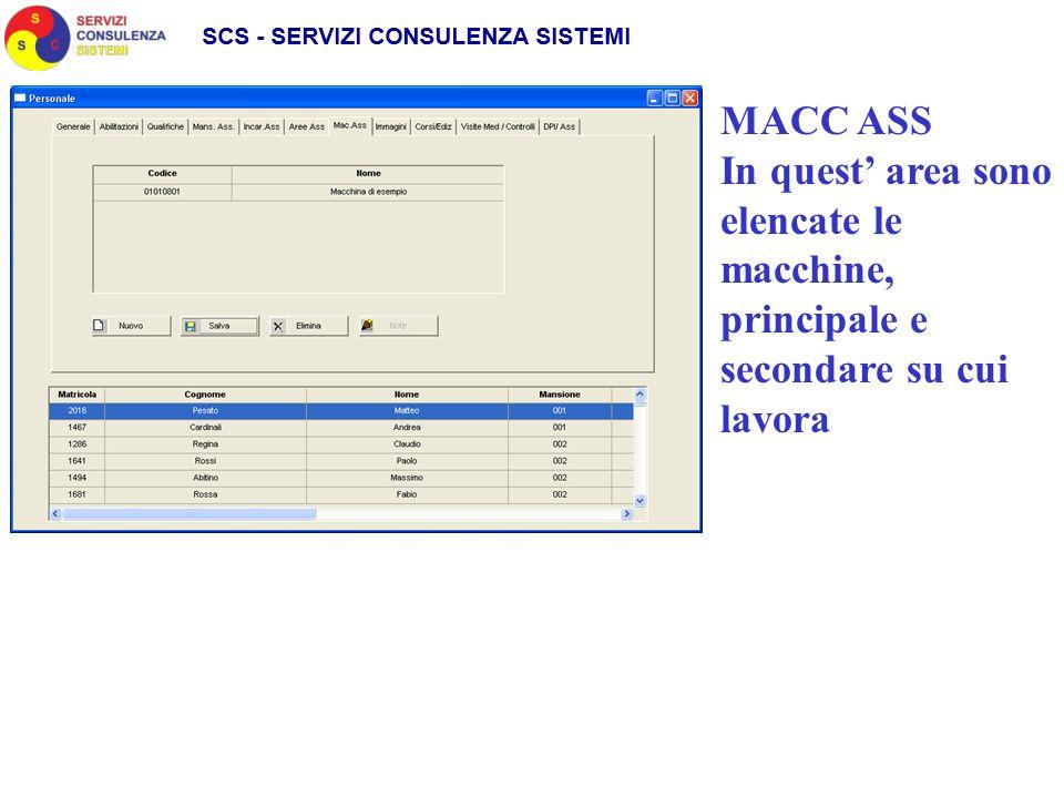 MACC ASS In quest area sono elencate le macchine, principale e secondare su cui lavora
