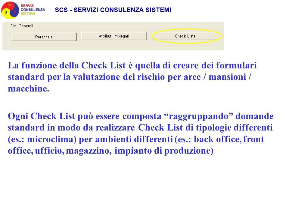 La funzione della Check List è quella di creare dei formulari standard per la valutazione del rischio per aree / mansioni / macchine.