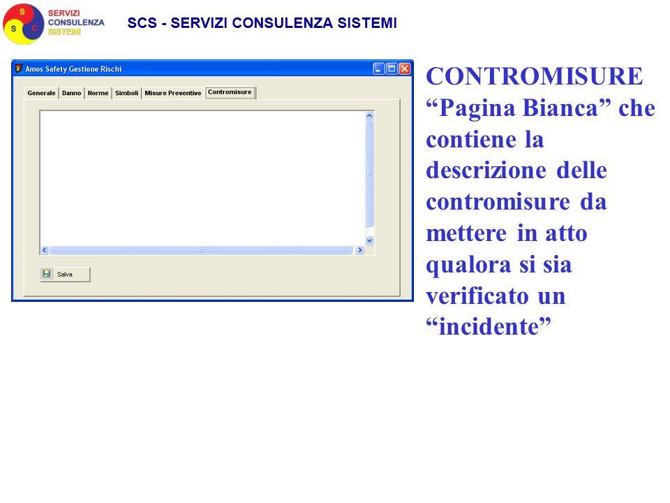 CONTROMISURE Pagina Bianca che contiene la descrizione delle contromisure da mettere in atto qualora si sia verificato un incidente