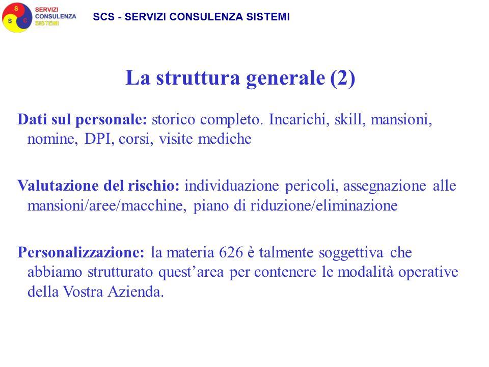 La struttura generale (2) Dati sul personale: storico completo.