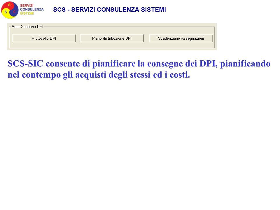 SCS-SIC consente di pianificare la consegne dei DPI, pianificando nel contempo gli acquisti degli stessi ed i costi.