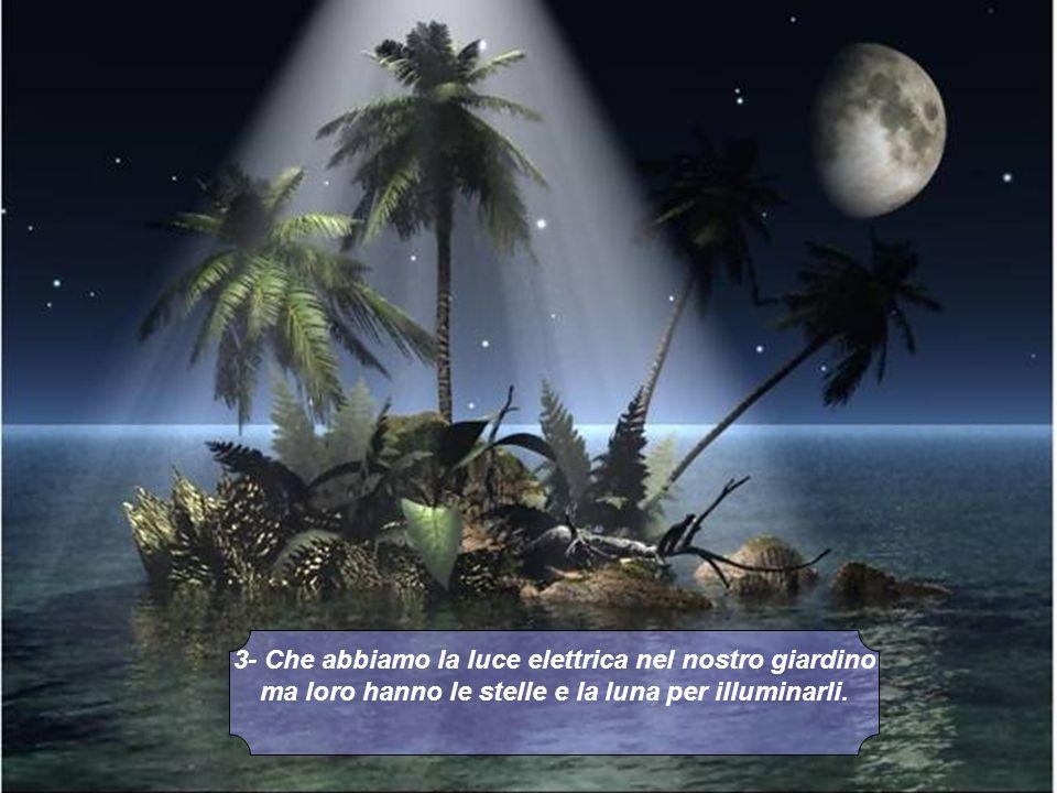 3- Che abbiamo la luce elettrica nel nostro giardino ma loro hanno le stelle e la luna per illuminarli.